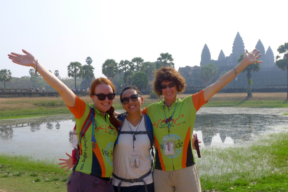 Jessica Stokes, Linh Nguyen and Wendy Wisniewski in Siem Reap.