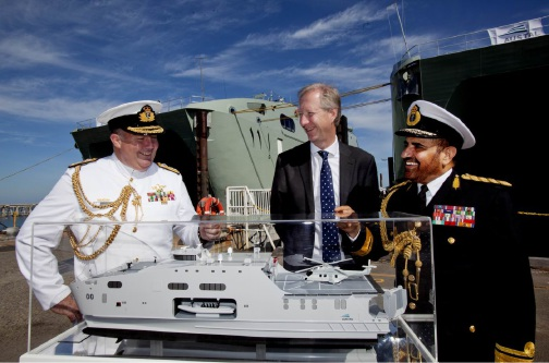 Commander of the Australian Fleet, Rear Admiral Stuart Mayer CSC, with Austal chief executive David Singleton (centre) and Commander of the Royal Navy of Oman, Rear-Admiral Abdullah bin Khamis bin Abdullah Al Raisi.