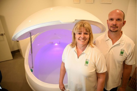 Life Spring Float Tank Centre owner Narelle Gaunt and Andrew |Anderson with one of the float tanks.