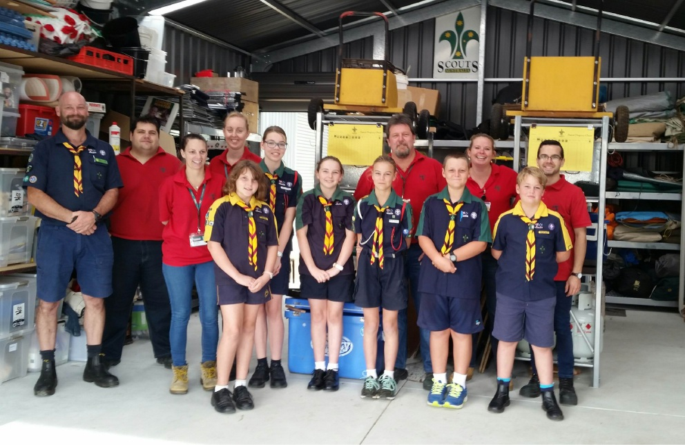 1st Falcon Scouts with Bunnings Warehouse Halls Head staff.