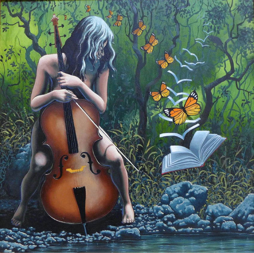 Cello Book and Butterflies by Brian Richard Taylor.