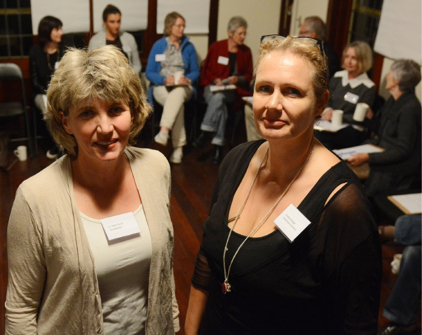 Group co-convenors Sally Pyvis, left, and Anielka Briggs before the meeting.