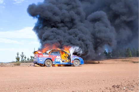 The Markovic/Macneall Subaru goes up in flames. Picture: Alan Bird