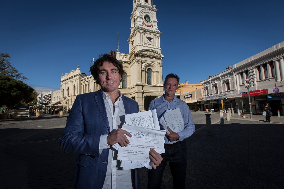 Adin Lang and Alan Beazley are campaigning for North Coogee and Hamilton Hill to be part of the City of Fremantle. Picture: Will Russell.