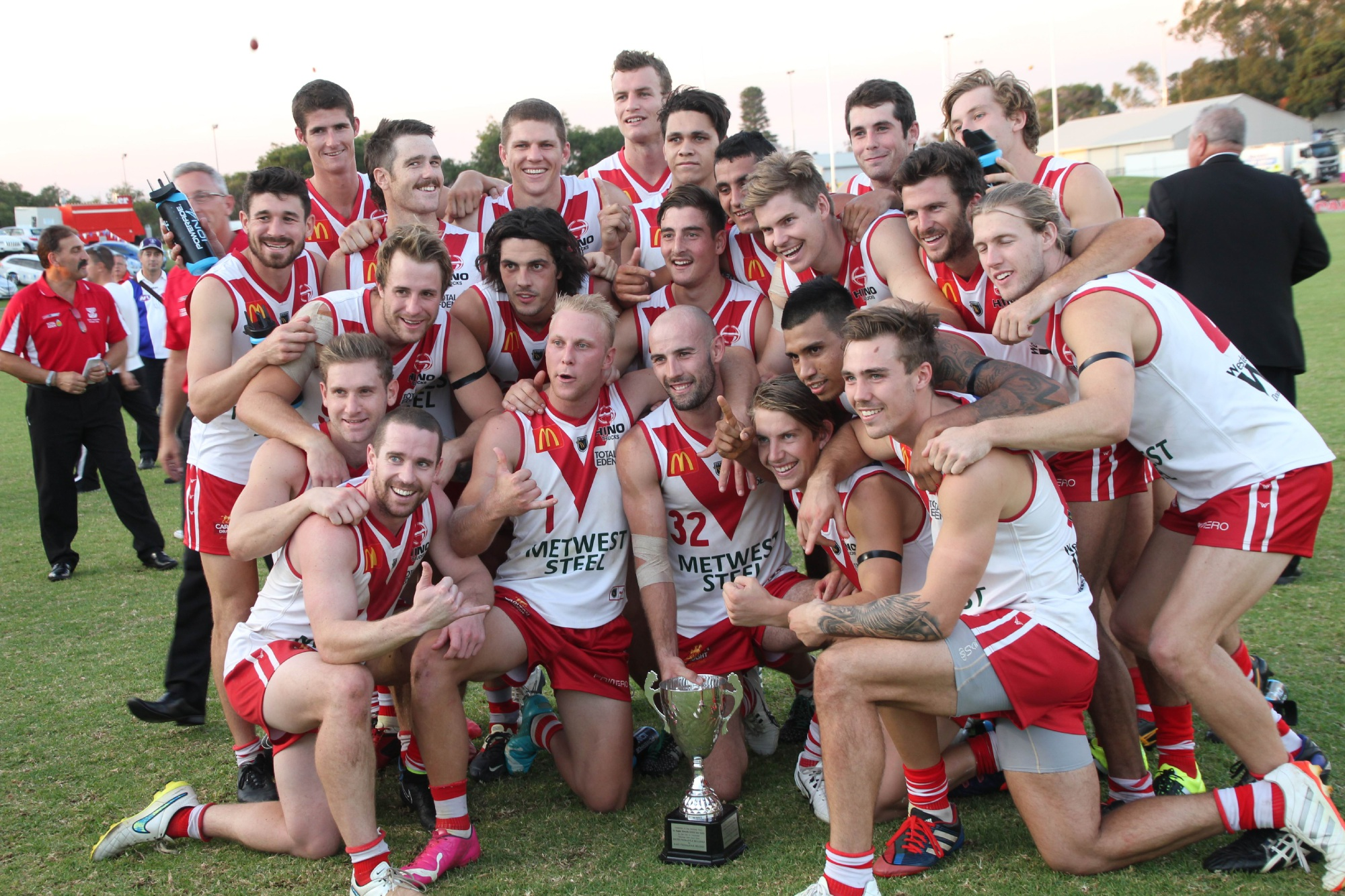 South Fremantle celebrates win over East Fremantle on Saturday. Picture: Phil Elliott/Pixell Photography