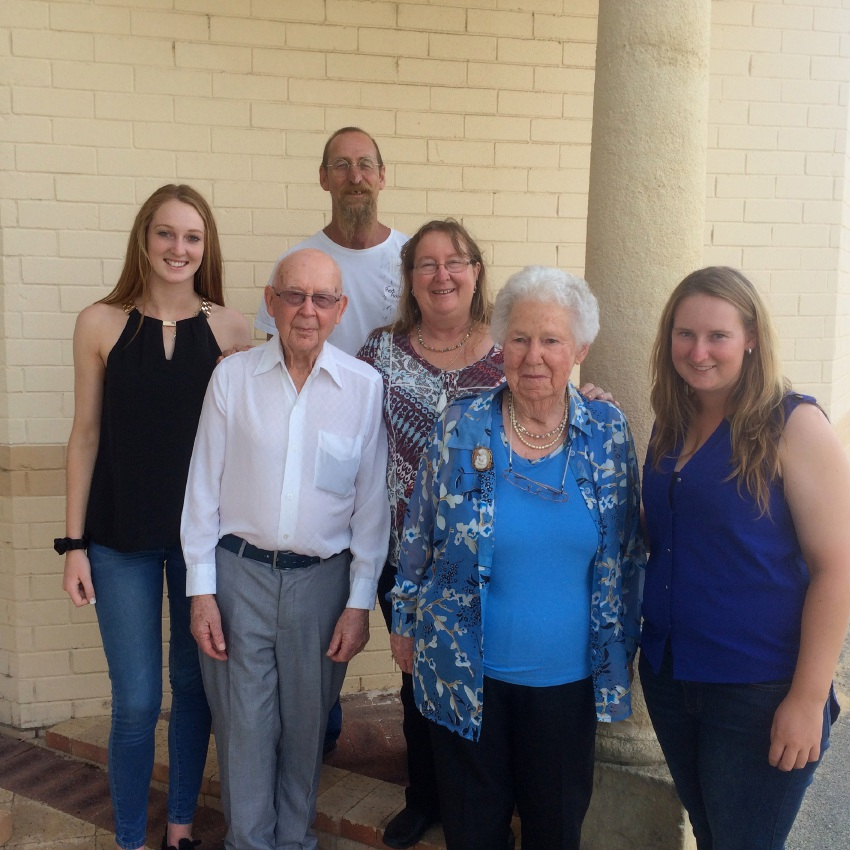 Bob and Ruth Hill with daughter Jenny Adams, her husband Rob Adams (rear) and granddaughters Robyn (left) and Bonni (right).