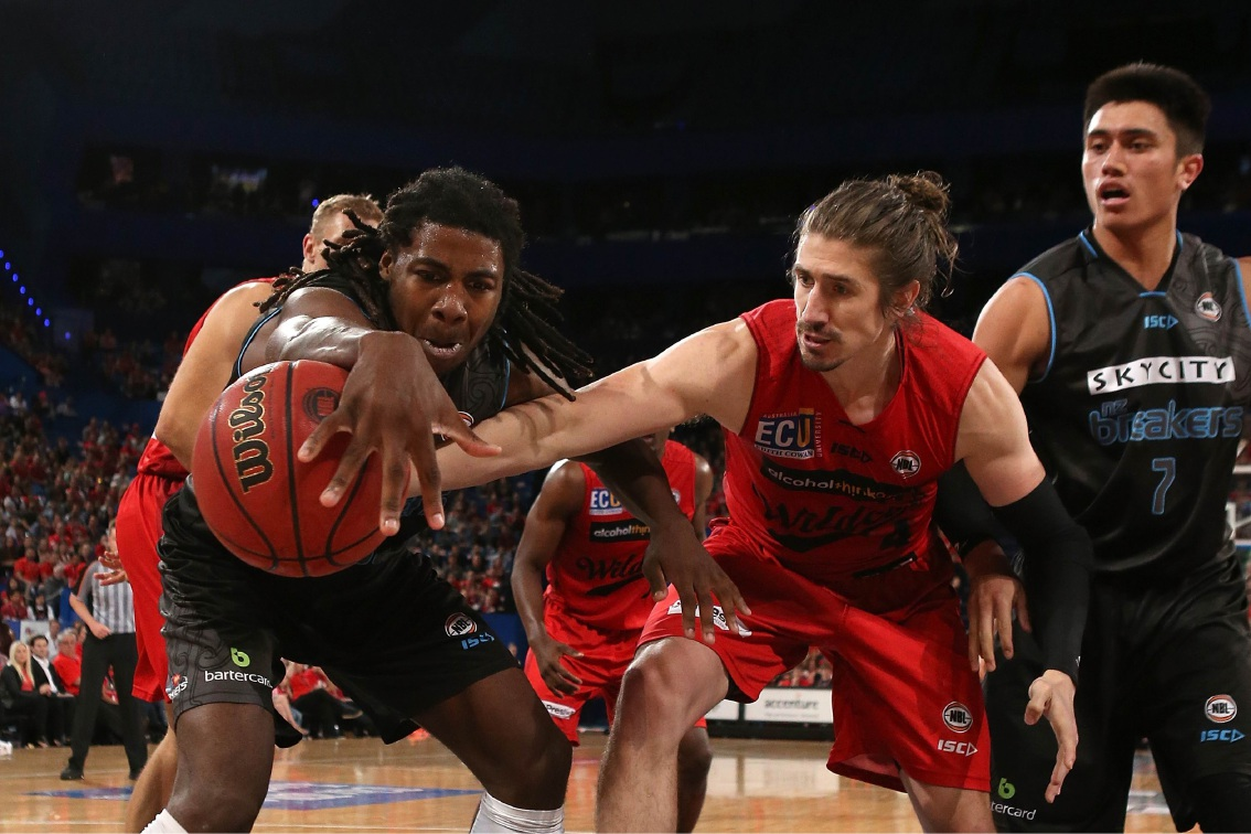 Greg Hire (centre) in the round two NBL match between the Perth Wildcats and the New Zealand Breakers. Picture: Paul Kane/Getty Images