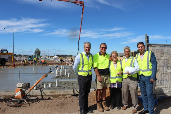 Alan Thomas, Steve Fletcher, City of Gosnells Mayor Olwen Searle, Mark Gidvani and Angus Murray at the Glenariff Apartments site.