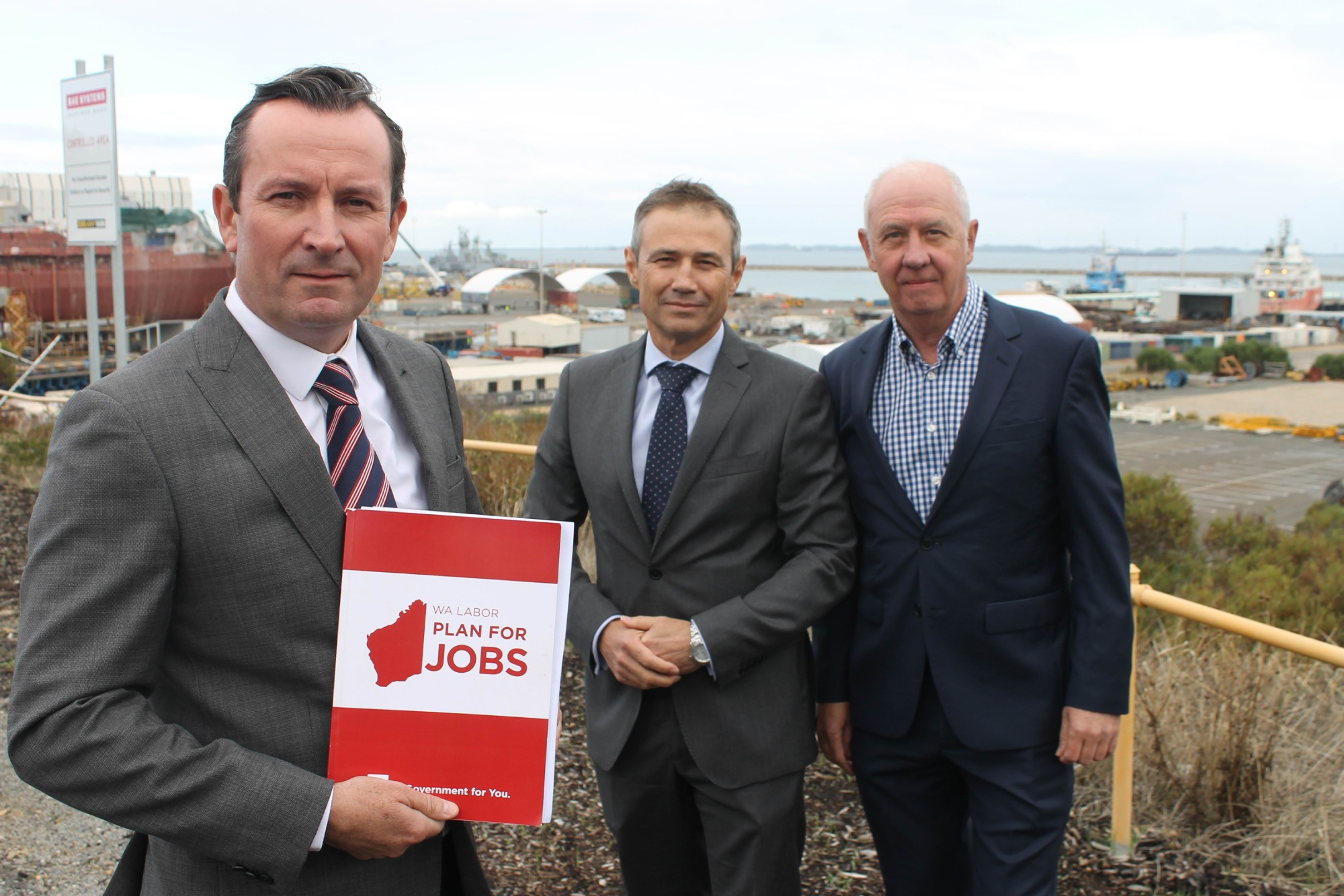 Mark McGowan with Kwinana MLA Roger Cook and Cockburn MLA Fran Logan.