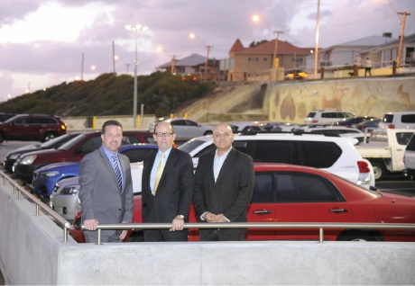 Joondalup Mayor Troy Pickard, Marmion Angling and Aquatic Club president Martin Hall and Carine MLA Tony Krsticevic in the redeveloped car park.