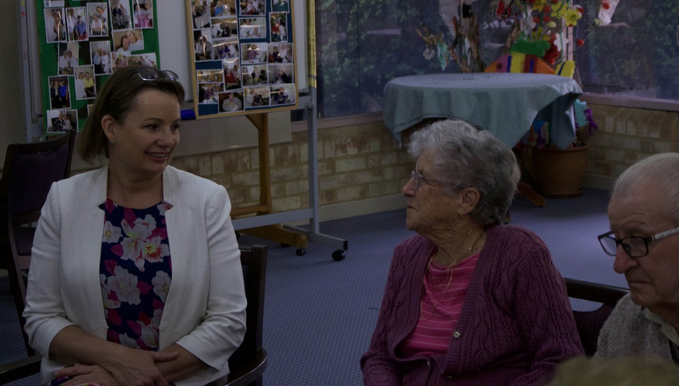 Federal Health and Aged Care Minister Sussan Ley talks with a resident at |Jeremiah Donovan House.