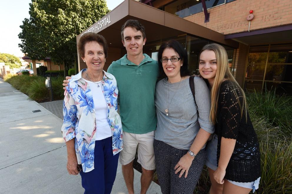 June Rundle, Paterick Rundle, Karen Maher and Megan Rundle at South Perth Hospital. Picture: Jon Hewson d453023
