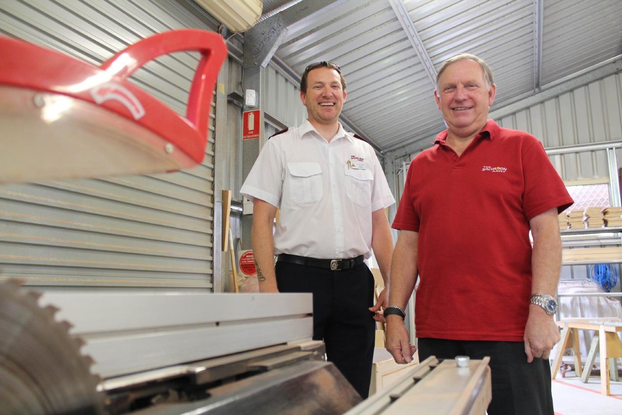 Salvation Army Kwinana Corps Captain Peter Jones and Men's Shed co-ordinator Derek Tickner.