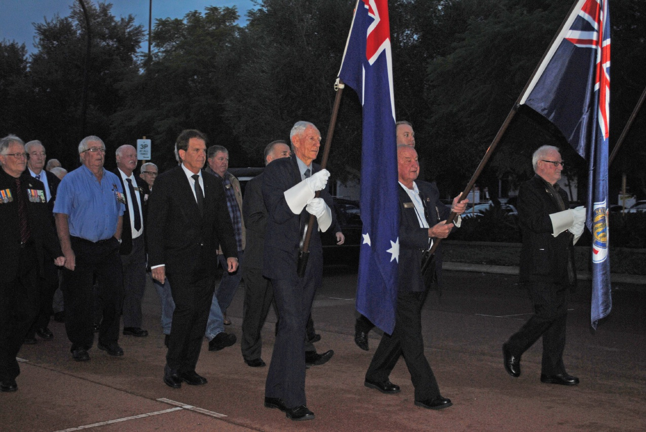 Veterans march at the Osborne Park RSL Sub-Branch's Anzac Day service. 1st Karrinyup Scouts Cooper and Tyler Meehan pay their respects. Veterans march at Osborne Park Sub Branch Anzac Day service.