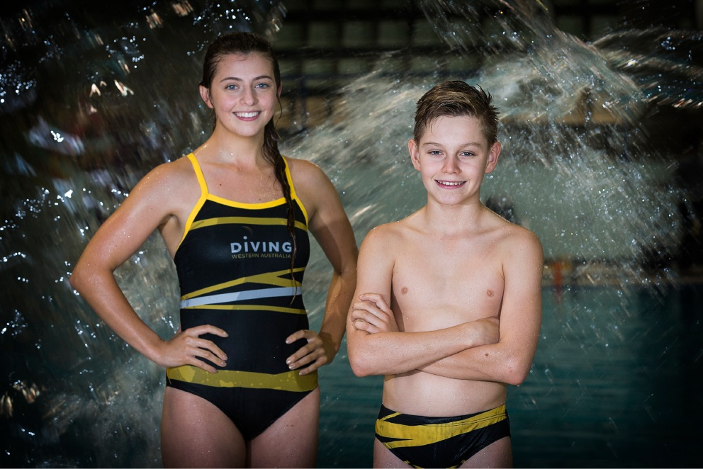 Standout performers: Coach and diver Mercedes Carnevali and diver Sam Tulk were part of Diving WA's winning team. Picture: Will Russell www.communitypix.com.au   d453164