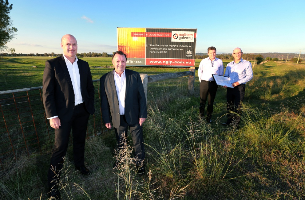 Transport Minister Dean Nalder, Swan Hills MLA Frank Alban and Sirona Capital managing directors Matthew McNeilly and Kelvin Flynn.        Picture: David Baylis        www.communitypix.com.au   d451519