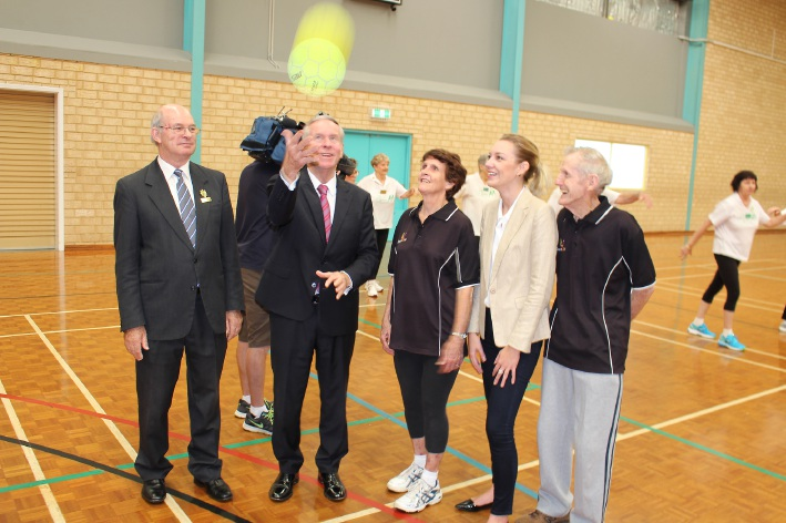 Belmont Mayor Phil Marks, Premier Colin Barnett, Kay Bousfield, Sport and Recreation Minister Mia Davies and Max Bousfield at the launch of the SilverSport program.