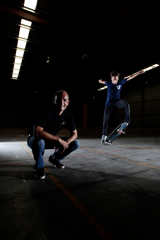 Businessman Richard Kettle with his son Euan Kettle on a skateboard. Picture: Marie Nirme  www.communitypix.com.au   d451983