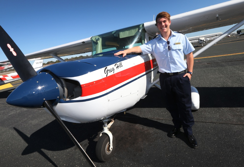 Austin Crawley  has won a $7000 scholarship to learn to fly. Picture: Matt Jelonek           d452948