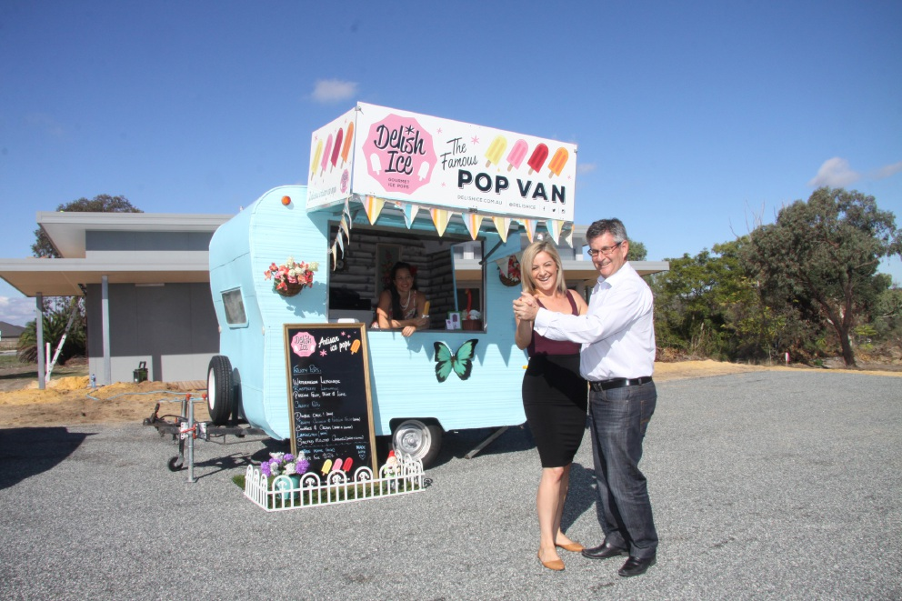 Jess Jacobs and Alf Lay perform a waltz for an icy pole from Carmille Payet of Delish Ice.        Picture: Gabrielle Jeffery