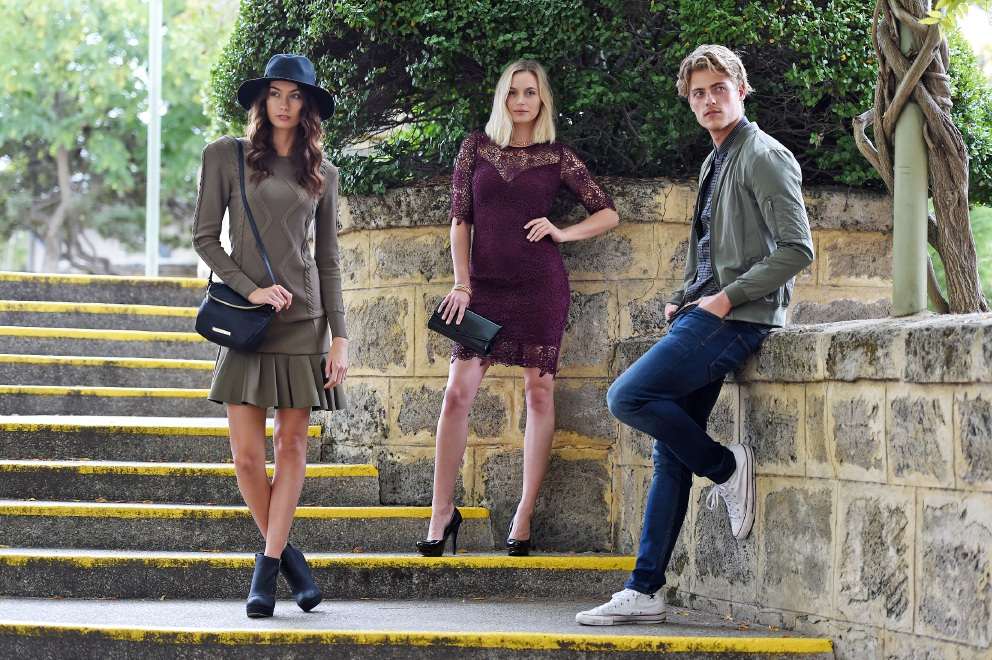 Ebony Walton, Jade Morgan and Justin Monaco model the latest autumn and |winter trends. |Picture: Jon Hewson          d452857