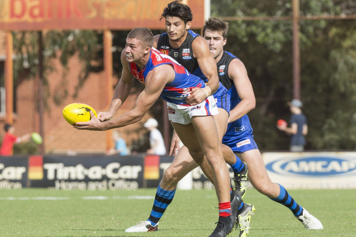 Sharrod Wellingham tackles West Perth's Luke Meadows. Picture: Dan White