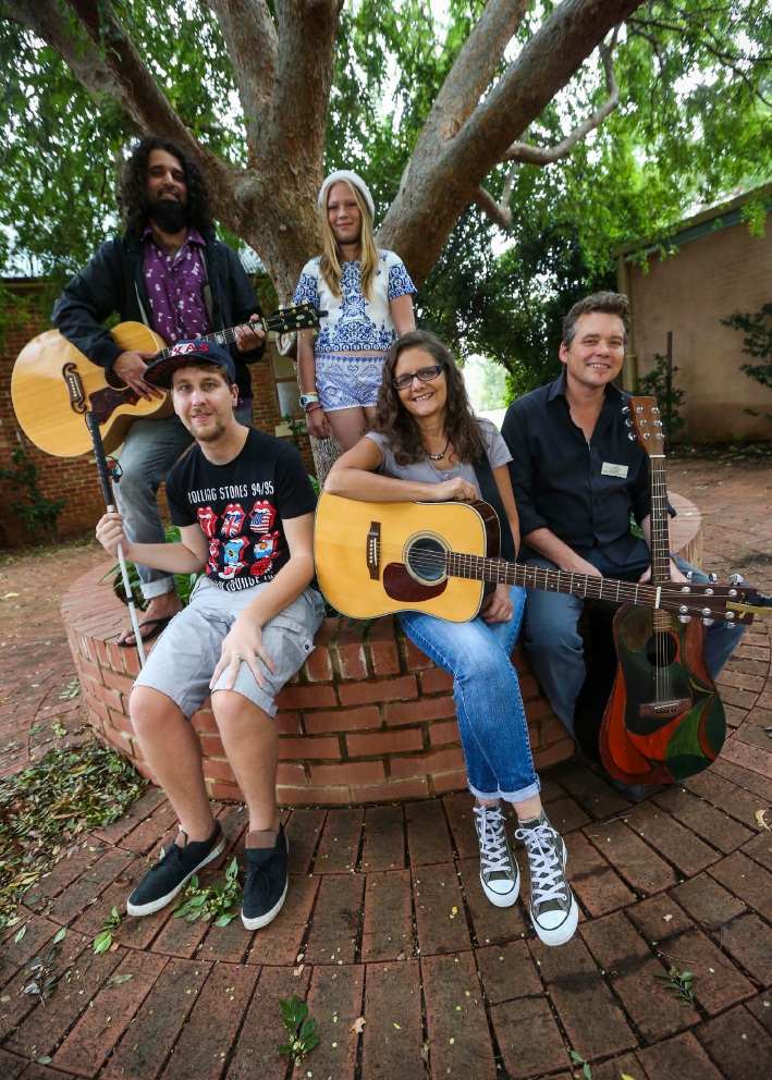 Othman Hishmey, Angelina Good-Gerne, Jake Burrows, Tania Mazzotti and Jon Cope at the busking workshop in Armadale. Picture: Matt Jelonek d452587