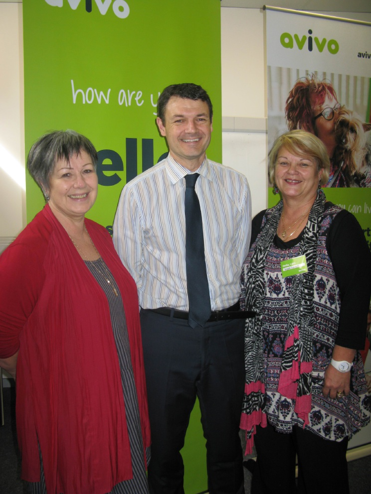 Avivo area manager Peel Angela Edwards, chief finance officer Lee Watson and general manager Susan Peden.