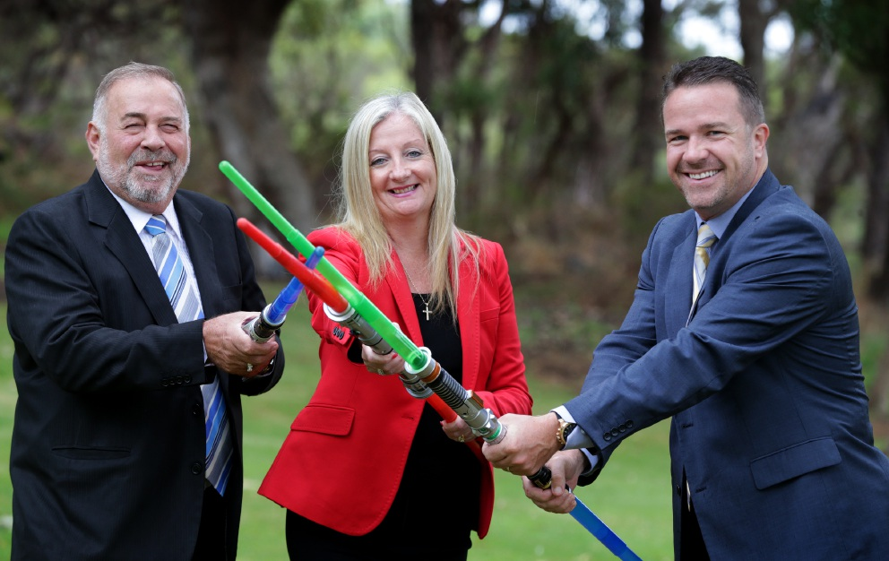 Bloody battle: Stirling Mayor Giovanni Italiano, Wanneroo Mayor Tracey Roberts and Joondalup Mayor Troy Pickard.  Picture: Martin Kennealey         d452143