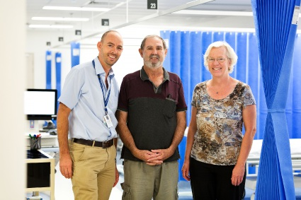 Prostate cancer patient Neville Franklin (centre) with FSH Head of Urology Dickon Hayne and Cynthia Hawks from the FSH Clinical Trials Program.