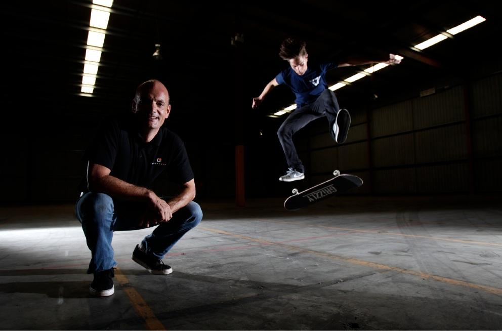 Stompbox founder Richard Kettle with his son Euan. Picture: Marie Nirme |www.communitypix.com.au   d451983