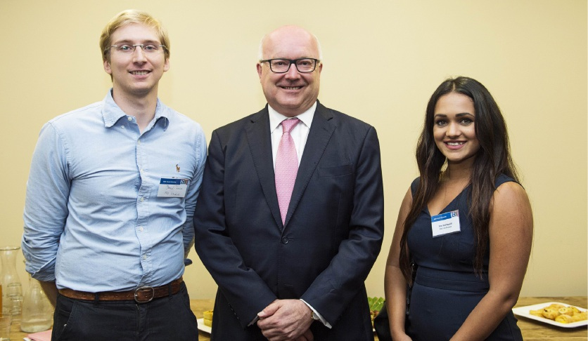 ECU PhD candidate David Preece, Attorney General George Brandis and ECU law student Anu Kothapalli.