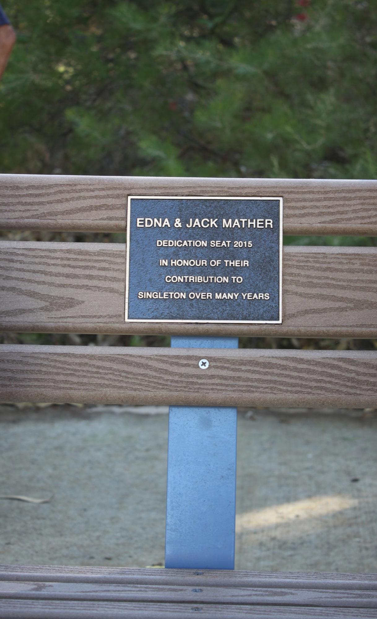 Singleton bench named after Jack and Edna Mather