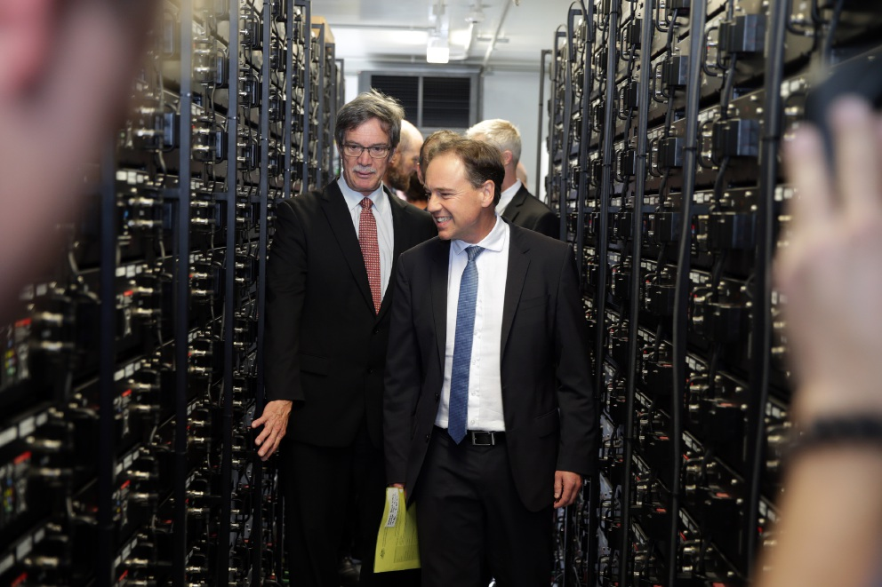 State Energy Minister Mike Nahan and Federal Environment Minister Greg Hunt inside energy storage facility.  Picture: Martin Kennealey d452720