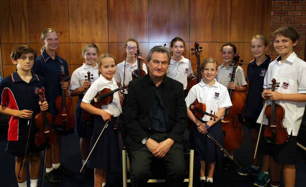 Professor Brian Finlayson with music students. Picture: Martin Kennealey d451487