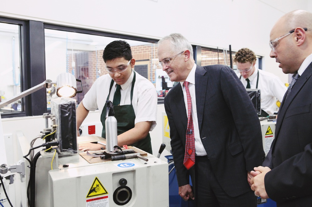 Prime Minister Malcolm Turnbull visits La Salle College to open the Brother Fitzhardinge Trade Skills Centre. Picture: Matt Biocich