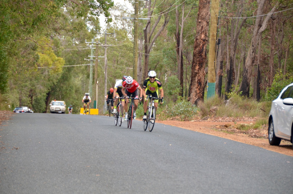 Northern Beaches Cycling Club president Chris Howard winning the hill climb in the West Coast Masters Cycling Council road race. Picture: Rebecca Schultz