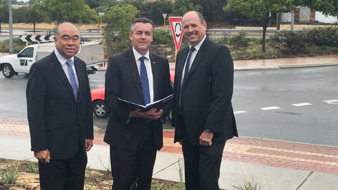 Moore MHR Ian Goodenough, Infrastructure and Transport Minister Darren Chester and Cowan MHR Luke Simpkins in Duncraig.