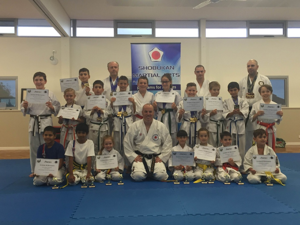 Shobukan Martial Arts Nollamara club members with the medals they won at the Western Australian Karate League competition.