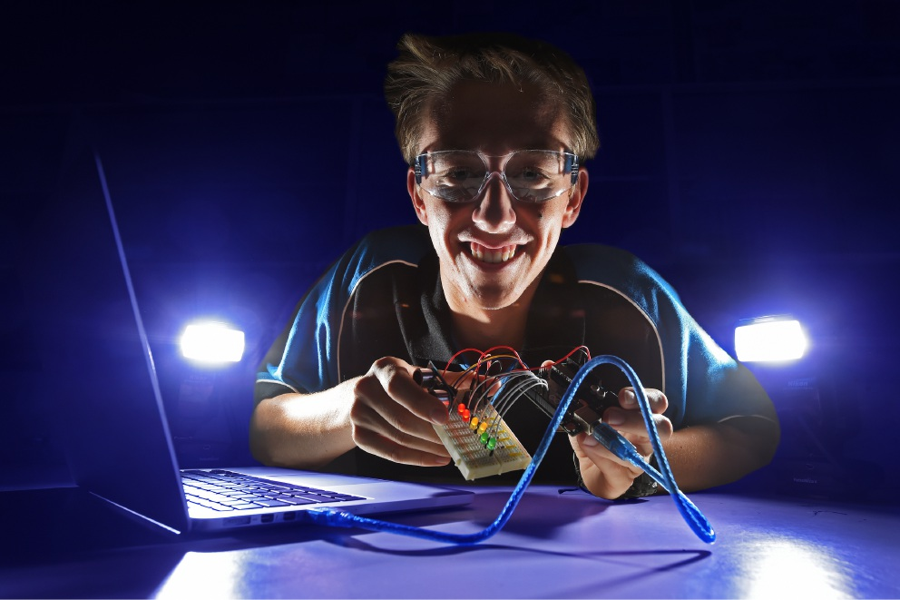 Thomas Bannerman is off to the United States for a robotics competition. Picture: Jon Hewson www.communitypix.com.au d452490