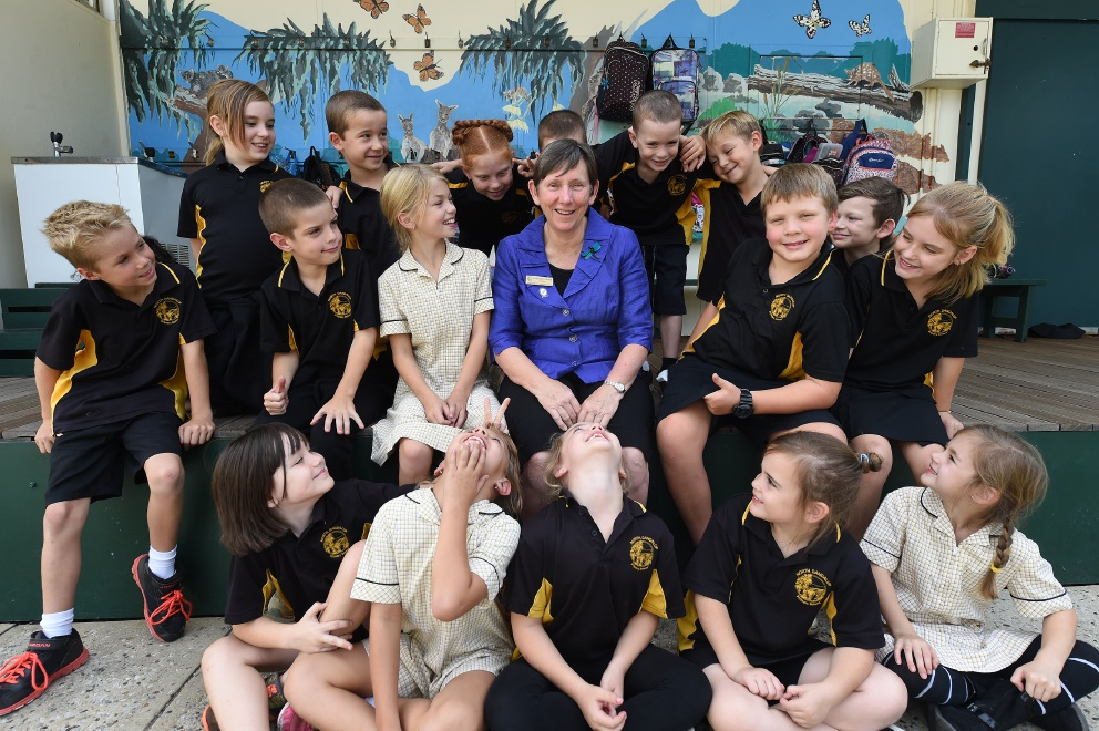 Retiring North Dandalup Primary School principal Merrilyn Jones surrounded by students. Picture: Jon Hewson        www.communitypix.com.au   d451518
