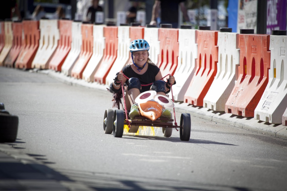 A racer takes part in the billy cart festival in Cockburn last month.