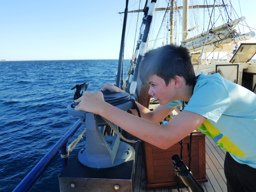 Corey Gallagher onboard the STS Leeuwin II.