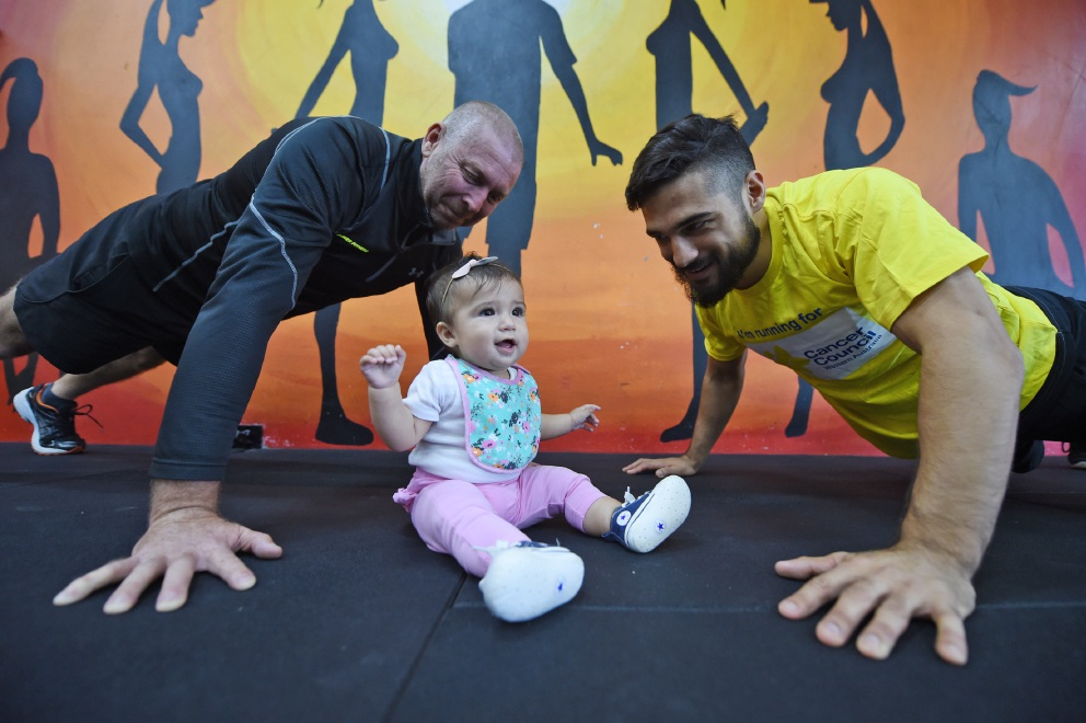 Power Fitness Maddington owner Chris Winter with Levi Kissick-Ponga and his daughter Harlow.  Picture: Jon Hewson www.communitypix.com.au   d452335