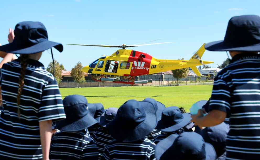The Westpac Life Saver Rescue Helicopter visits the Swan Valley Anglican Community School in Aveley. |Picture: David Baylis        www.communitypix.com.au   d451526