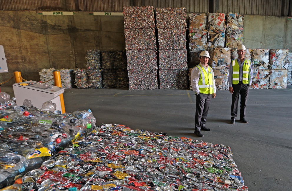 Kim Gorey (managing director Perth Waste Green Recycling) and Sean Sciberras (manager waste and fleet City of Stirling). Picture: Martin Kennealey d435480
