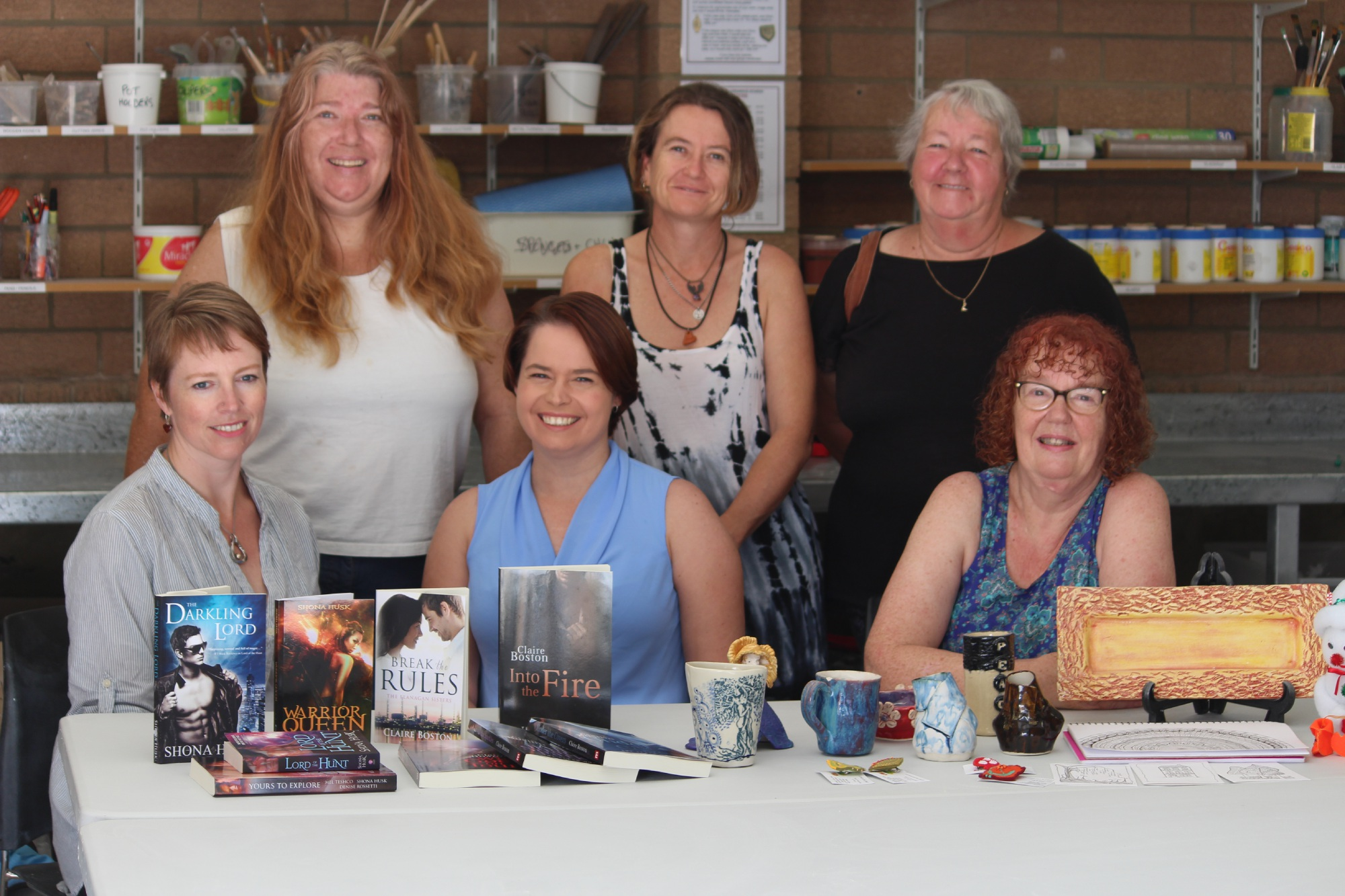 (Back, l-r) Ceramics artists Bec Thomas, Tanya Beavan and artist Lyn Berryman, with (front) authors Shona Husk, Claire Boston and artist Lesley Jeffreys. Picture: Declan Byrne