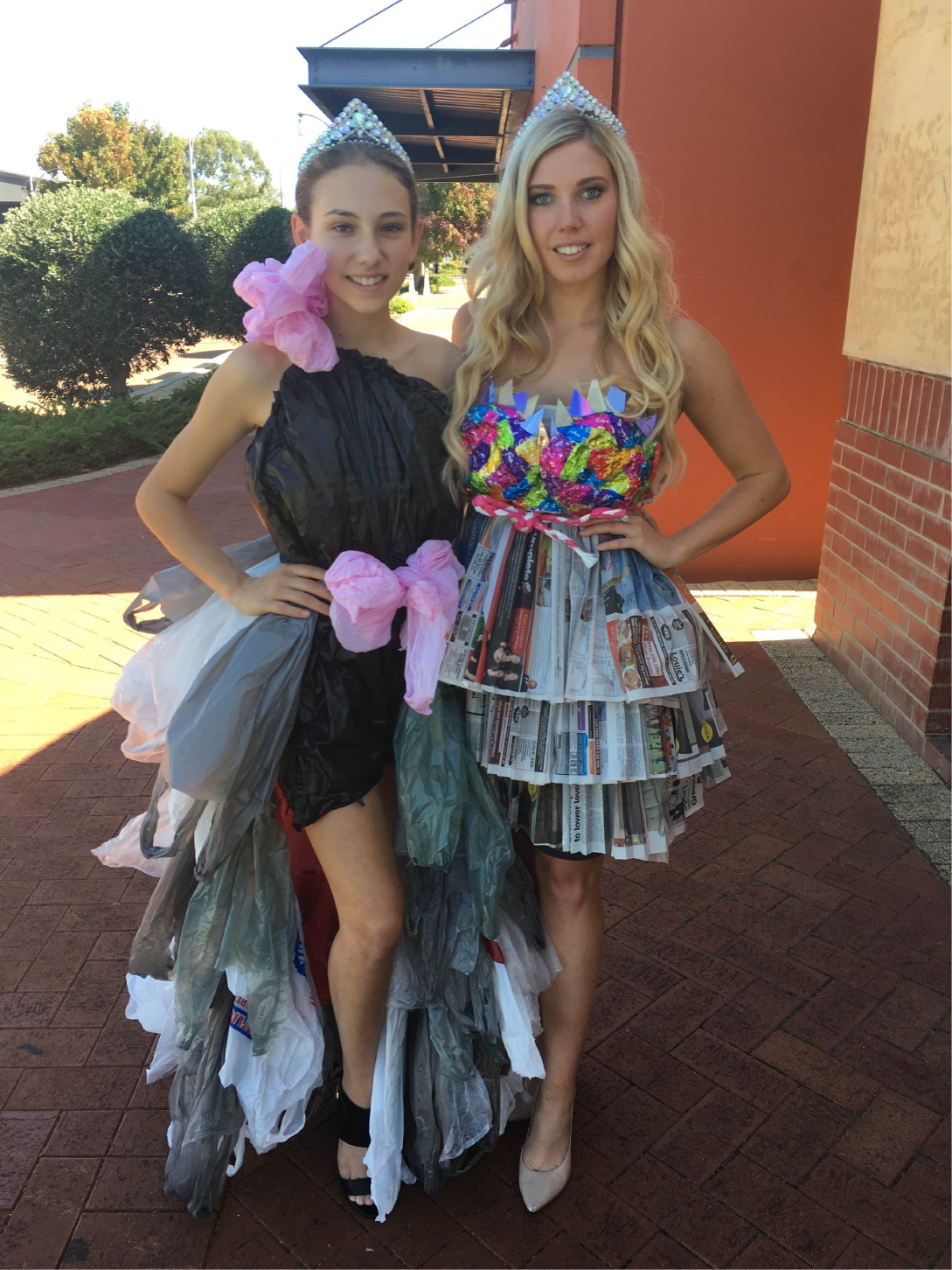 Miss Teen Galaxy Australia contestant Alicia Tavani and Miss Galaxy Australia contestant Elise Nazzari in their 'eco beauty' dresses.