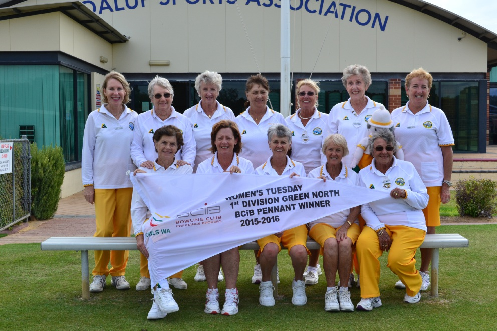 Members of the winning Joondalup Bowling Club's women's team.