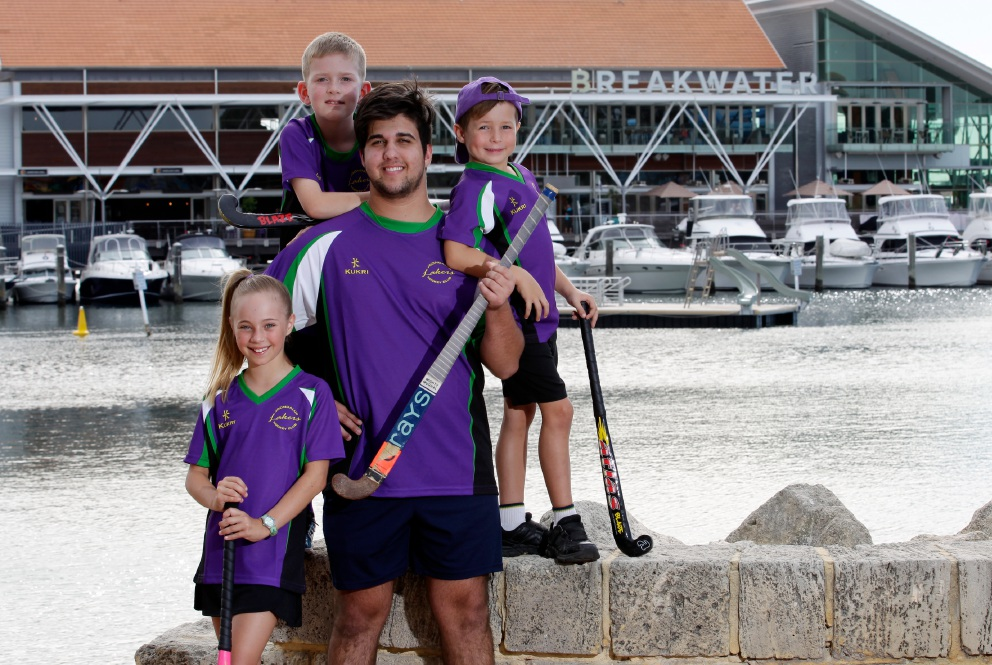 Joondalup Lakers hockey players Olivia Williams (11), Joshua Finlayson (9), Emmitt Bartuccio (19) and Brady Fulcher (6). Picture: Marie Nirme        www.communitypix.com.au   d452428